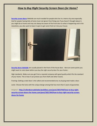 How to Buy Right Security Screen Doors for Home?