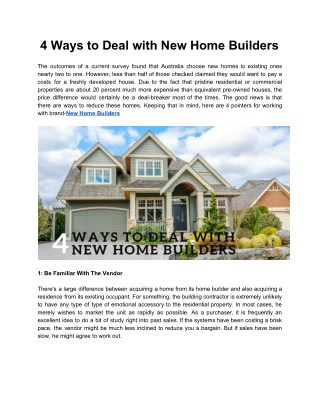 4 Ways to Deal with New Home Builders