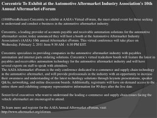 Corcentric To Exhibit at the Automotive Aftermarket Industry