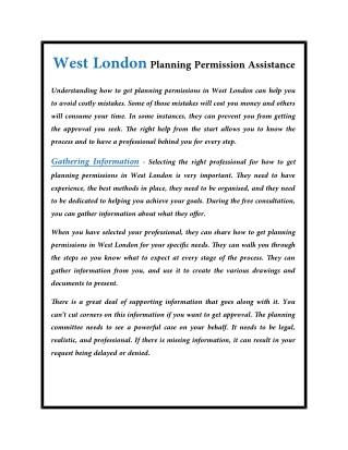 West London Planning Permission Assistance
