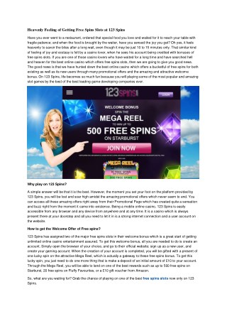 Heavenly Feeling of Getting Free Spins Slots at 123 Spins