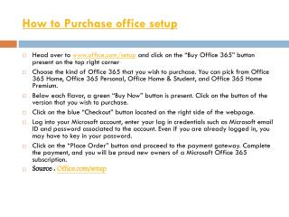 How to Purchase office setup