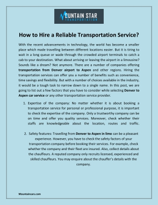How to Hire a Reliable Transportation Service?