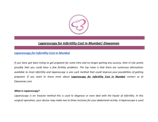 Laparoscopy for Infertility Cost in Mumbai   Elawoman