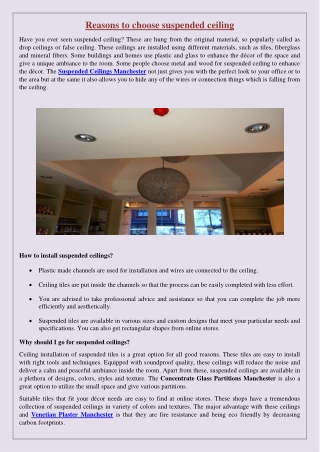 Reasons to choose suspended ceiling