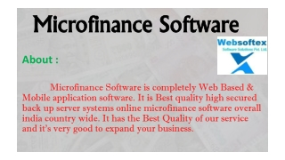 Web Based Microfinance Software From Websoftex