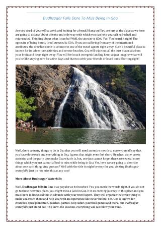 Explore Dudhsagar WaterFalls in Goa - Lets Go Goa