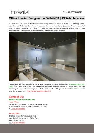 Office Interior Designers in Delhi NCR-RESAIKI Interiors