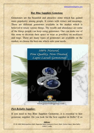 Buy Blue Sapphire Gemstone