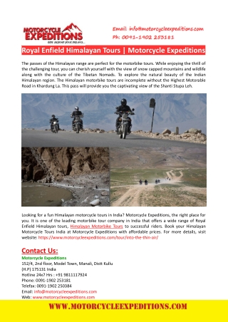 Royal Enfield Himalayan Tours-Motorcycle Expeditions