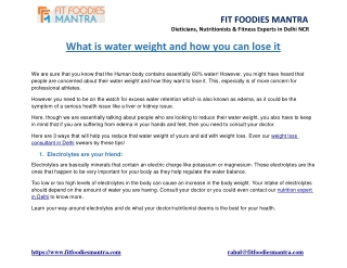 What is water weight and how you can lose it