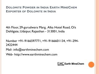 Dolomite Powder in India Earth MineChem Exporter of Dolomite in India