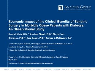 Economic Impact of the Clinical Benefits of Bariatric Surgery in Morbidly Obese Patients with Diabetes: An Observational