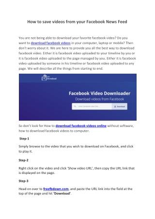 Fb Video Download's Presentations on SlideServe
