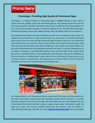 Promosigns- Providing High Quality & Professional Signs