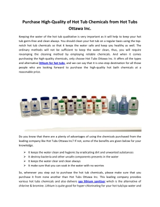 Purchase High-Quality of Hot Tub Chemicals from Hot Tubs Ottawa Inc.
