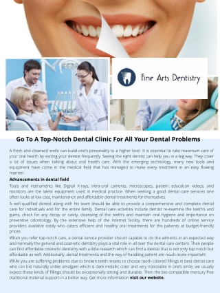 Go To A Top-Notch Dental Clinic For All Your Dental Problems