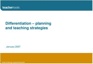 Differentiation – planning and teaching strategies
