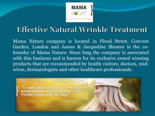 Effective Natural Wrinkle Treatment