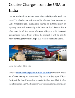Courier Charges from the USA to India