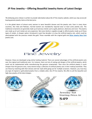 JP Fine Jewelry – Offering Beautiful Jewelry Items of Latest Design