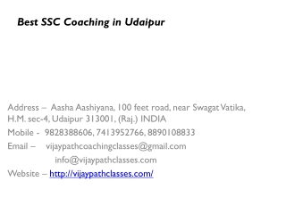 Best ssc coaching in udaipur