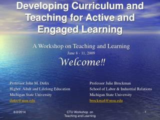 Developing Curriculum and Teaching for Active and Engaged Learning