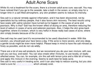 Adult Acne Scars Remedies