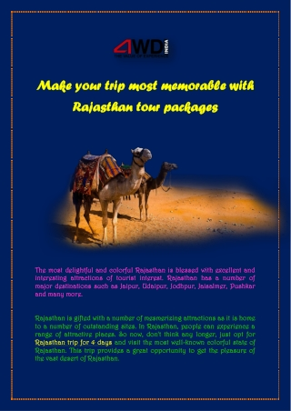 Make your trip most memorable with Rajasthan tour packages