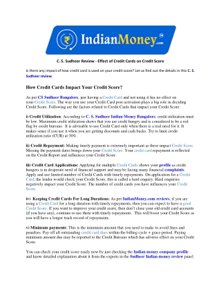 C. S. Sudheer Review - Effect of Credit Cards on Credit Score