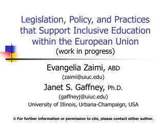 Legislation, Policy, and Practices that Support Inclusive Education within the European Union (work in progress)