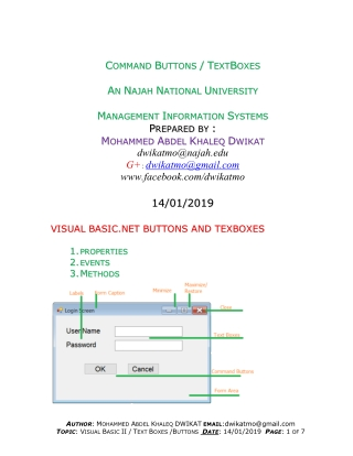 Visual Basic Text Boxes - Buttons