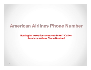 American Airlines Phone Number-Book Cheap Flight Tickets