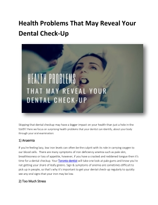 Health Problems That May Reveal Your Dental Check-Up