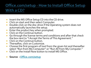 Office.com/setup - How to Install Office Setup With a CD?