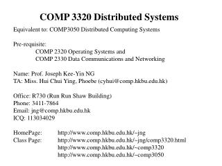 COMP 3320 Distributed Systems