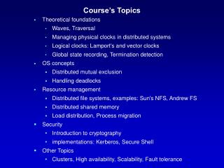 Course's Topics