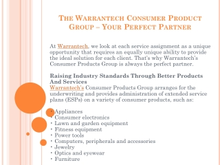 The Warrantech Consumer Product Group – Your Perfect Partner