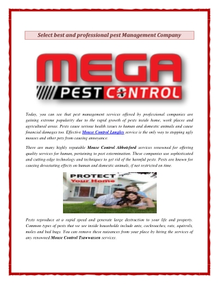 Select best and professional pest Management Company