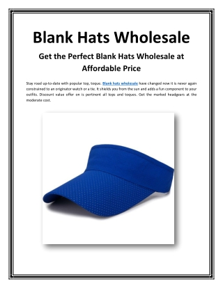 Get the Perfect Blank Hats Wholesale at Affordable Price