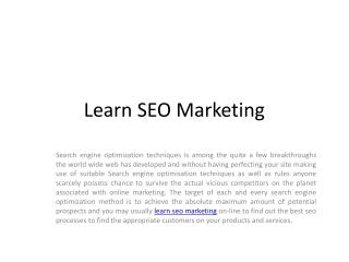 Learn seo marketing