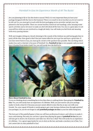 We are Highly Acclaimed for Providing Paintball in Goa - Lets Go Goa