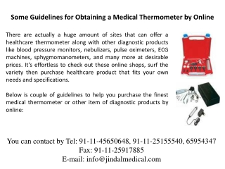 Some Guidelines for Obtaining a Medical Thermometer by Onlin