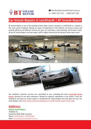 Leichhardt Car Smash Repairs-BT Smash Repair