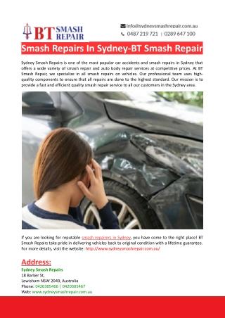 Sydney Smash Repairs-BT Smash Repair-BT Smash Repair