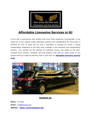 Affordable limo services in NJ