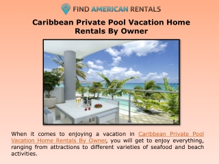 Caribbean Private Pool Vacation Home Rentals By Owner