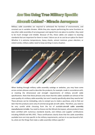 Are You Using True Military Specific Aircraft Cables? - Miracle Aerospace