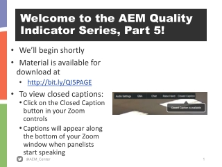 Welcome to the AEM Quality Indicator Series, Part 5!