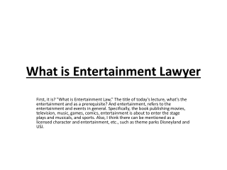 What is Entertainment Lawyer